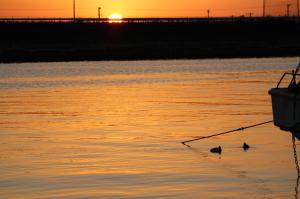 橙に染まる三河一色漁港